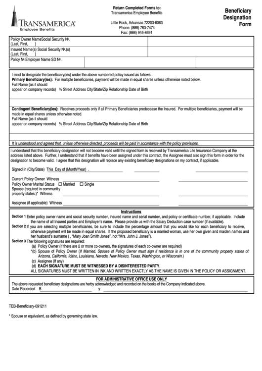 Transamerica Beneficiary Designation Form printable pdf ...