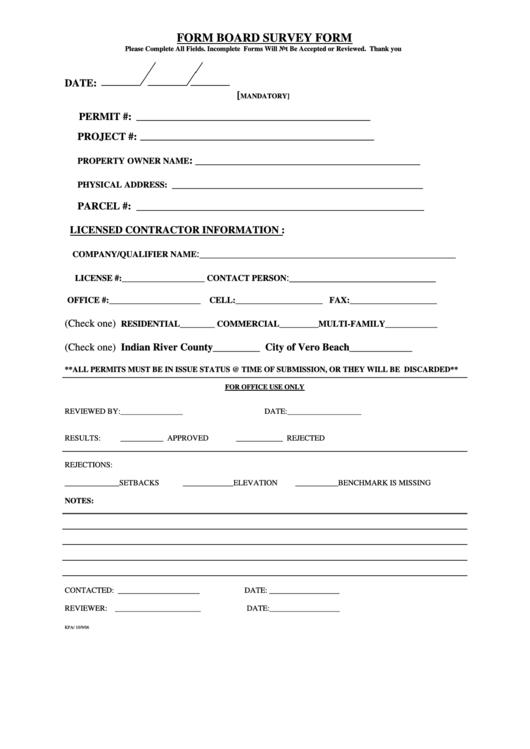 Form Board Survey Form