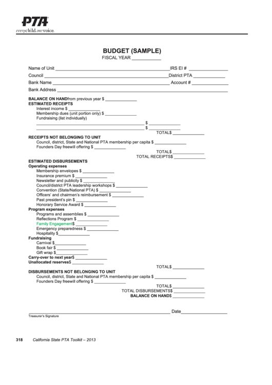 Pta Budget Template Sample Printable Pdf Download