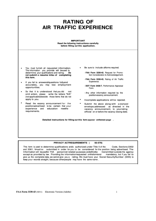 Faa Form 3330-43, Rating Of Air Traffic Experience printable pdf ...