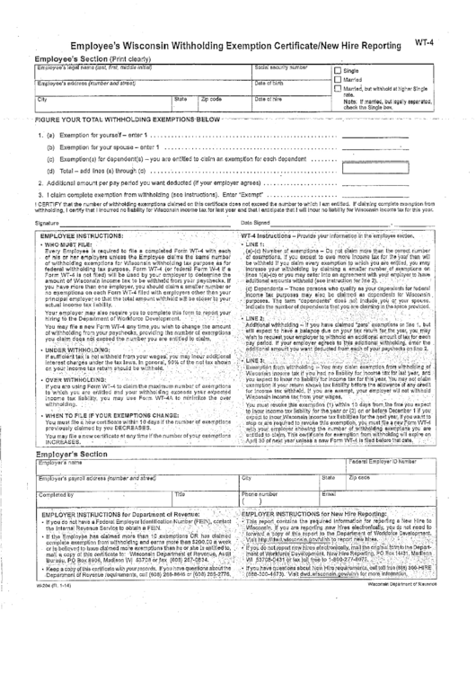 Form Wt-4 (state Tax Exemptions)