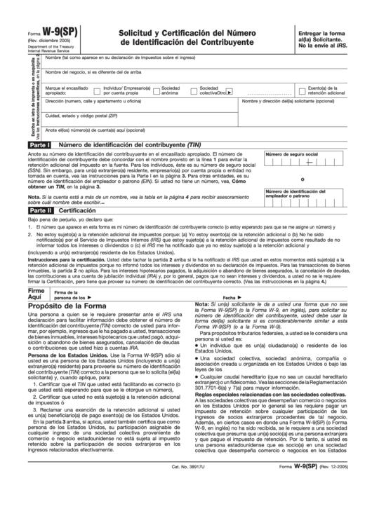 Form W-9(Sp) - Solicitud Y Certificacion Del Numero De Identificacion Del Contribuyente - 2005 Printable pdf