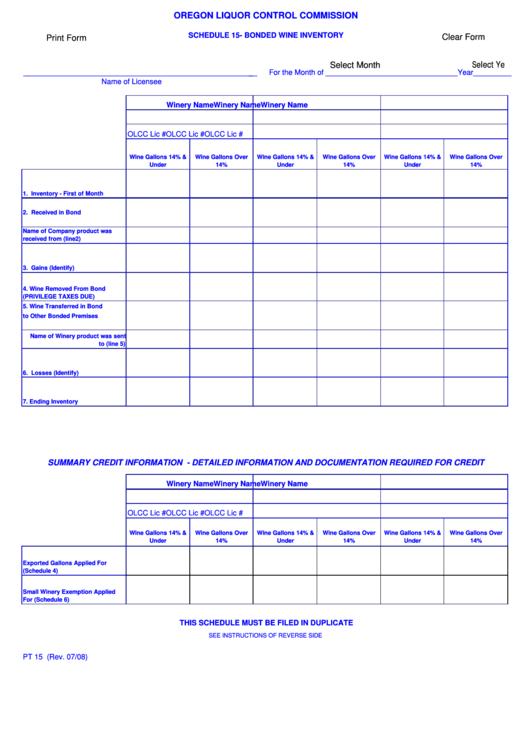 Oregon Liquor Control Commission Schedule 15-bonded Wine Inventory