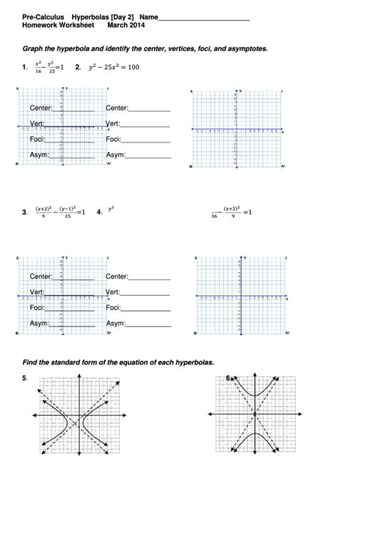Pre Calculus Homework Worksheet Hyperbolas Printable Pdf