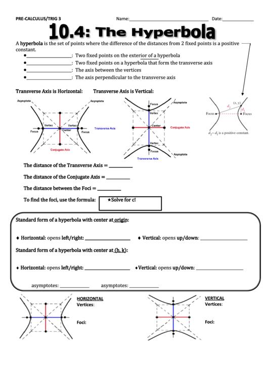 hyperbola worksheet pdf breadandhearth. Black Bedroom Furniture Sets. Home Design Ideas