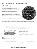 Paf Membership Form - Philadelphia Archaeological Forum