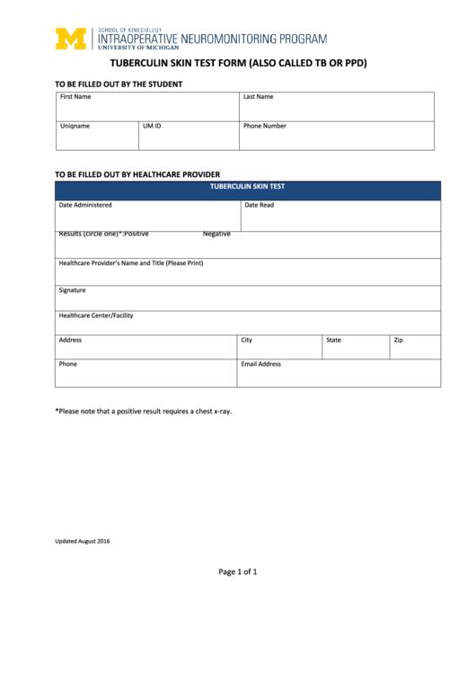 fillable tuberculin skin test form printable pdf download. Black Bedroom Furniture Sets. Home Design Ideas