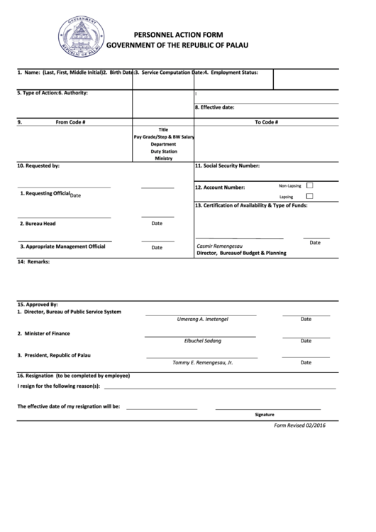 Personnel Action Form