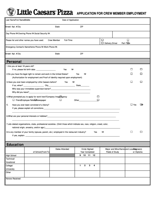 How to Edit Little Caesars Application Form