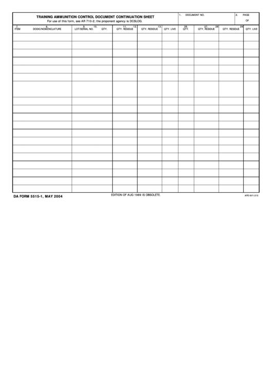 Da Form 5515-1, 2004 Printable pdf