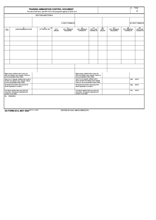 Fillable Da Form 5515, 2004 Printable pdf