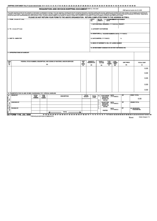 Dd Form 1149 - Requisition And Invoice/shipping Document - 2006