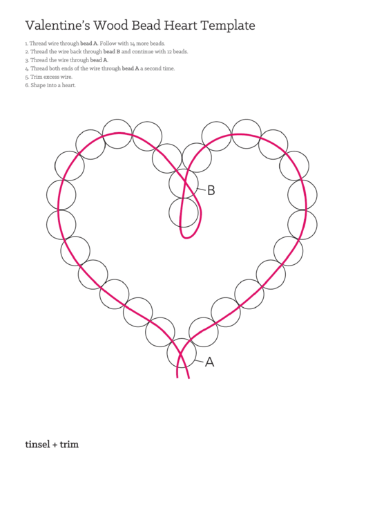 Valentine's Wood Bead Heart Template