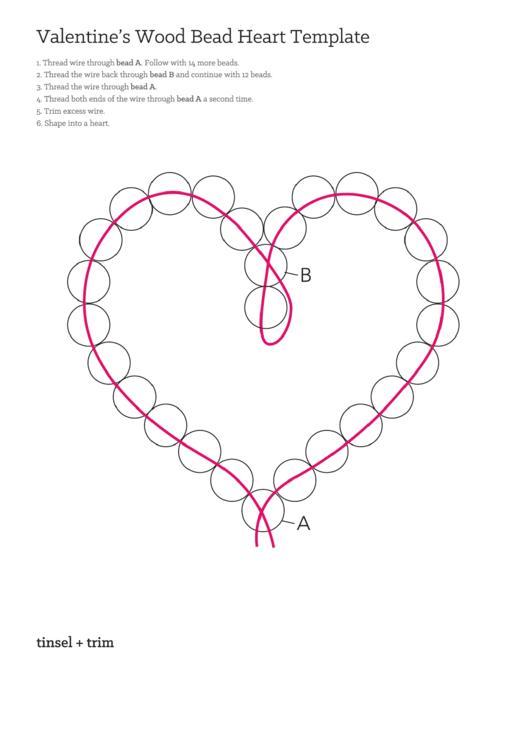 Valentine's Wood Bead Heart Template