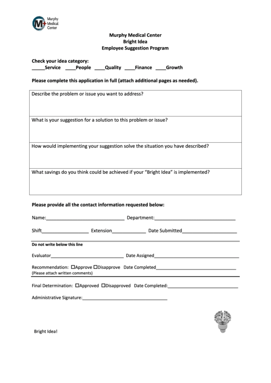 Employee Suggestion Program Bright Idea Form Printable