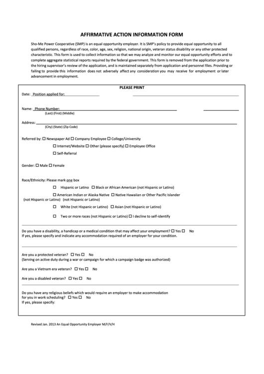 2013 Affirmative Action Information Form