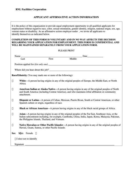 Applicant Affirmative Action Information Form