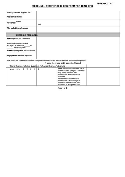 Guideline - Reference Check Form For Teachers