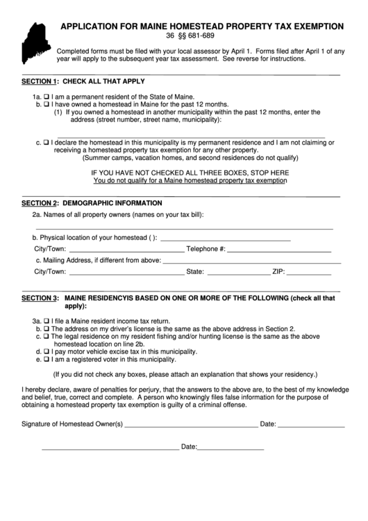Application Form For Maine Homestead Property Tax Exemption