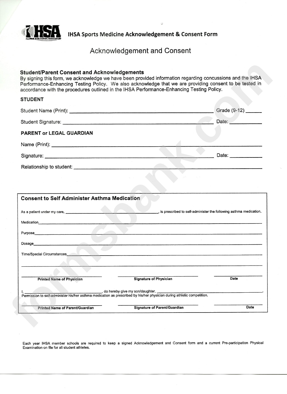 Ihsa Sports Medicine Acknowledgement & Consent Form printable pdf ...