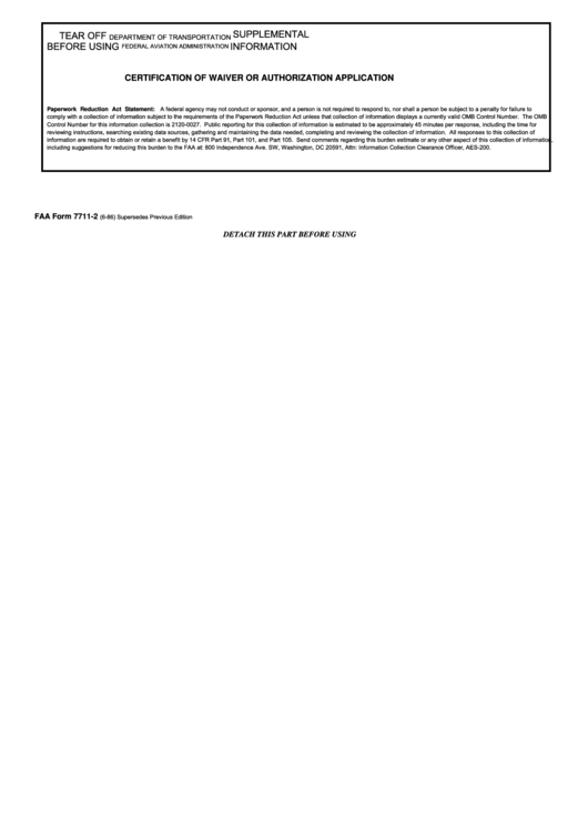 Faa Form 7711-2 - Application For Certificate Of Waiver Or ...