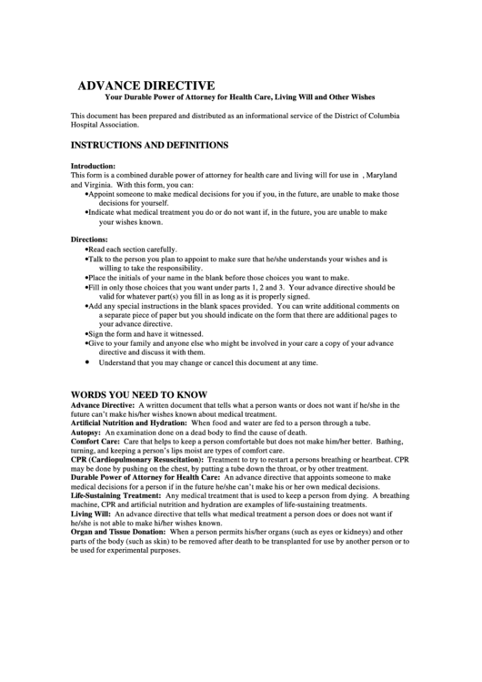 Advance Directive Template