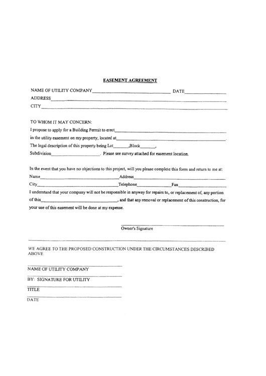 easement agreement printable pdf download
