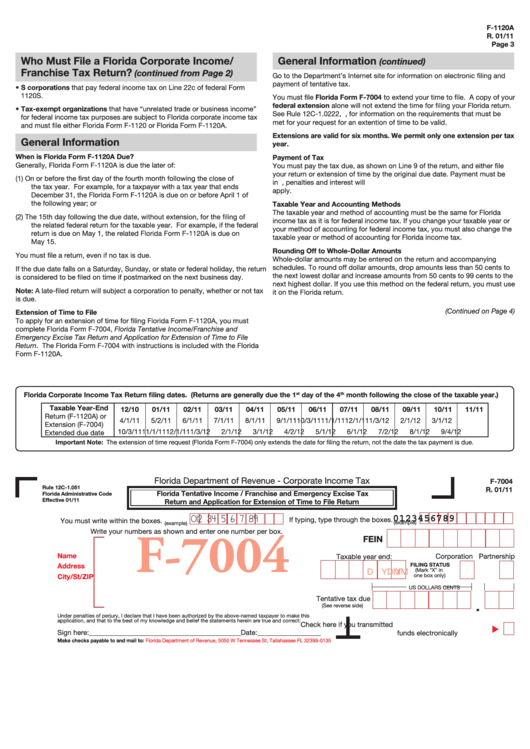 5 Florida Form F-1120 Templates free to download in PDF, Word and ...