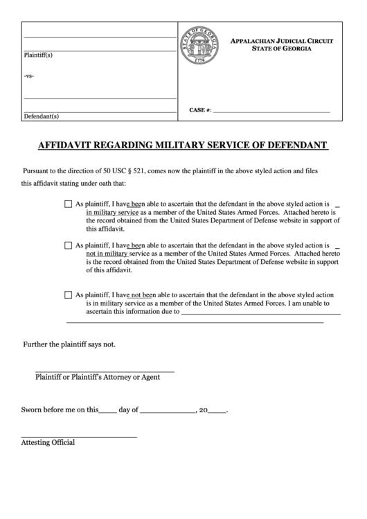 affidavit regarding military service of defendant form