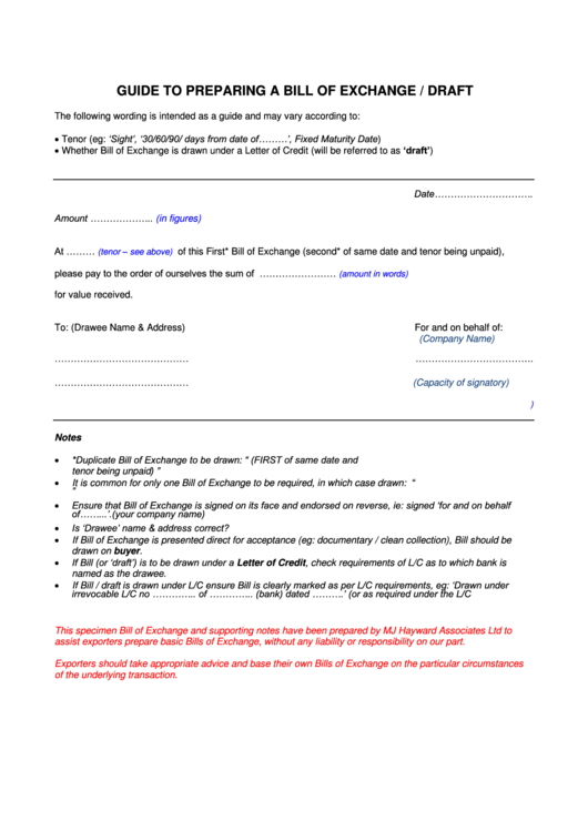 Free Bill Of Sale Template >> Top Bill Of Exchange Form Templates free to download in ...
