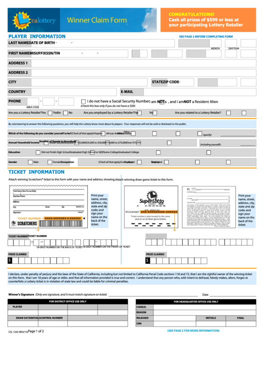 Ca Lottery Winner Claim Form printable pdf download