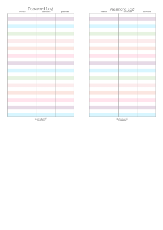 Password Log Template - Two Per Page