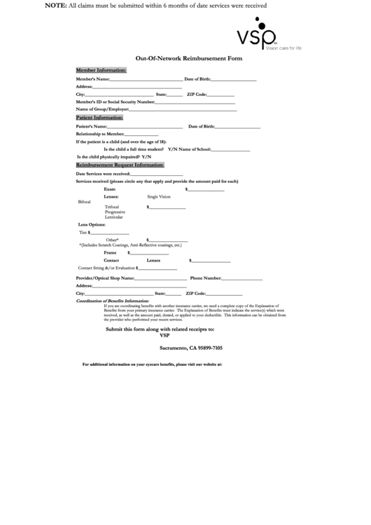 Vsp Out Of Network Form