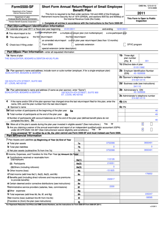 Top 7 Form 5500 Sf Templates Free To Download In Pdf Format