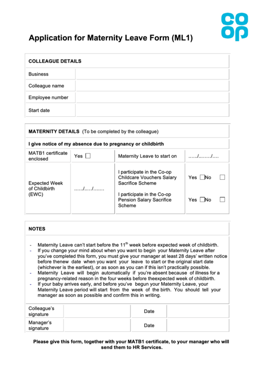 Application For Maternity Leave Form Ml1 Printable Pdf