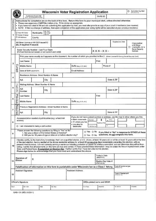 Wisconsin Voter Registration Application