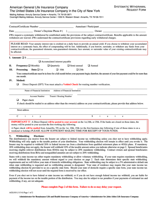 Form Agl 010 - American General Life Insurance Company - Systematic Withdrawal Request Form