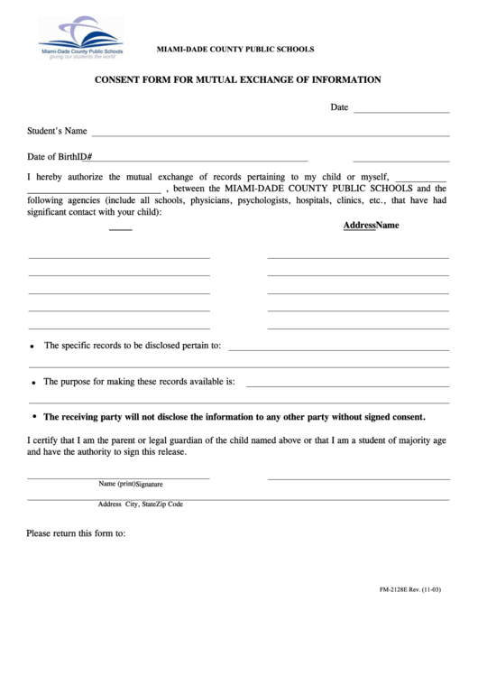 Miami-dade County Public Schools Consent Form For Mutual Exchange Of Information