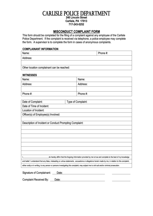 Top 9 police complaint form templates free to download in pdf format carlisle police misconduct complaint form altavistaventures Images