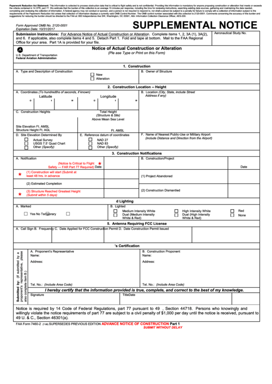 Supplemental Notice - Faa Form 7460-2 printable pdf download