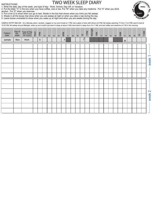 Two Week Sleep Diary Printable pdf
