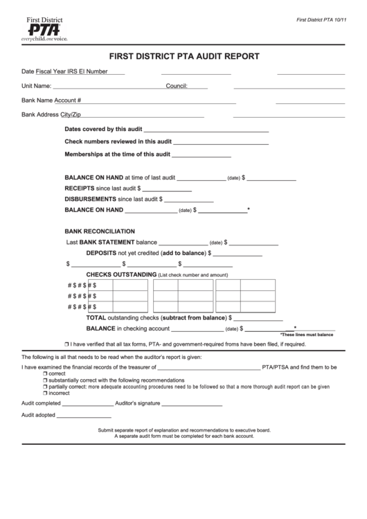 Fillable First District Pta Audit Report Form printable pdf