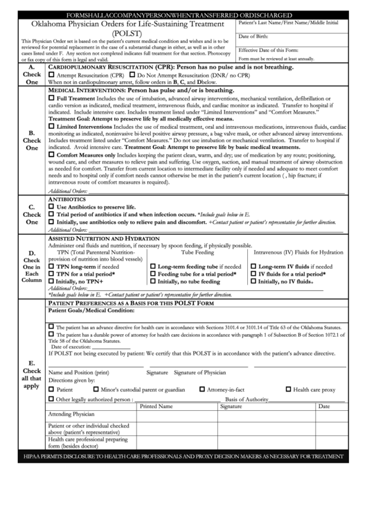 Physician Orders For Life-Sustaining Treatment Printable pdf