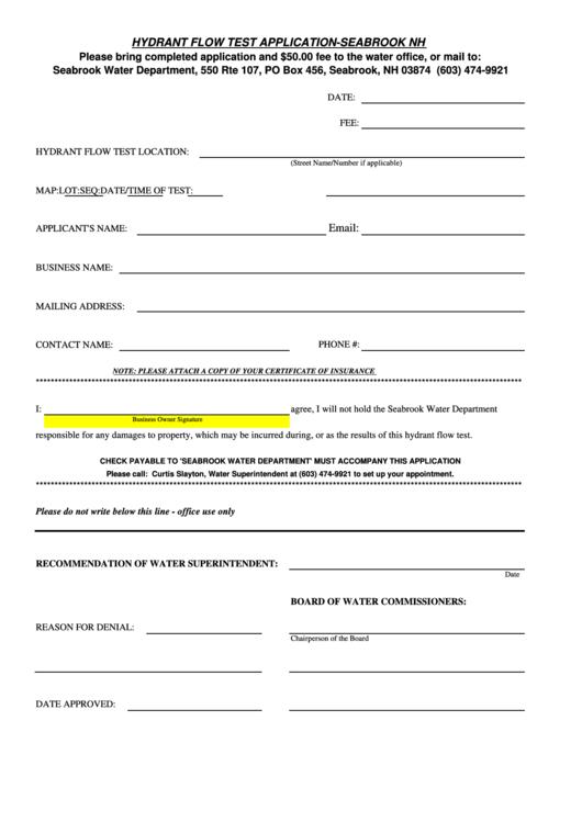 Hydrant Flow Test Application Printable pdf