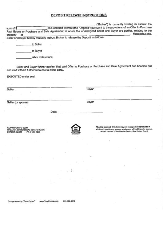 Deposit Release Instructions Printable pdf
