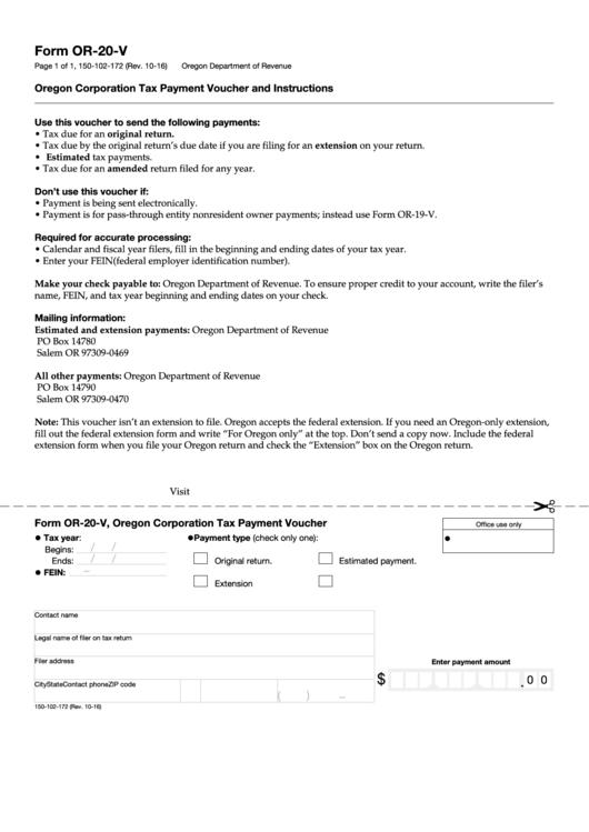 Form Or-20-v, Oregon Corporation Tax Payment Voucher
