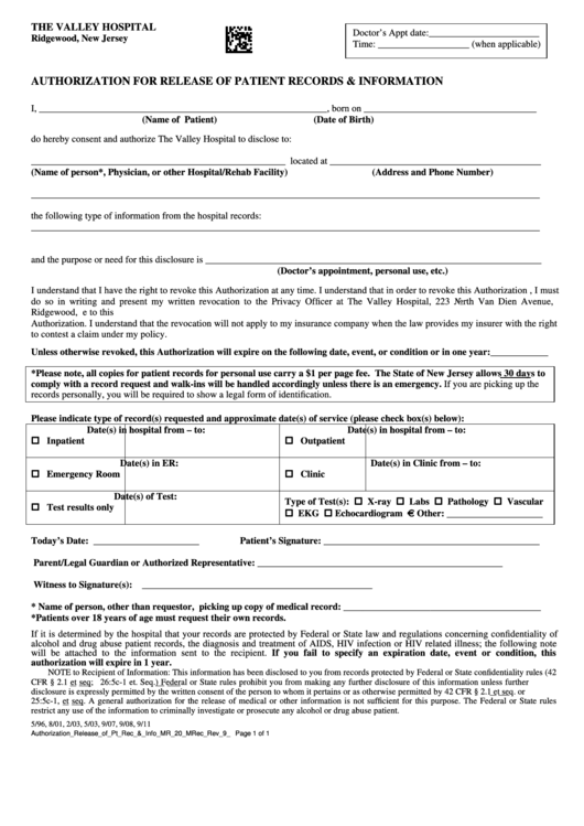 Authorization For Release Of Patient Records Printable pdf