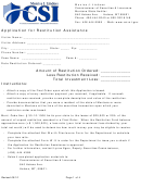 Application For Restitution Assistance/form W-9 - Request For Taxpayer Identification Number And Certification