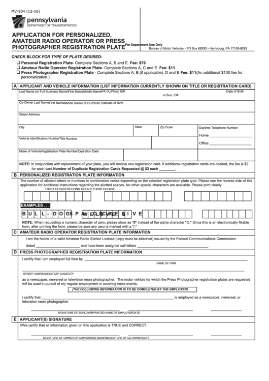 Penndot Form Mv-904, 2016, Application For Personalized Number ...