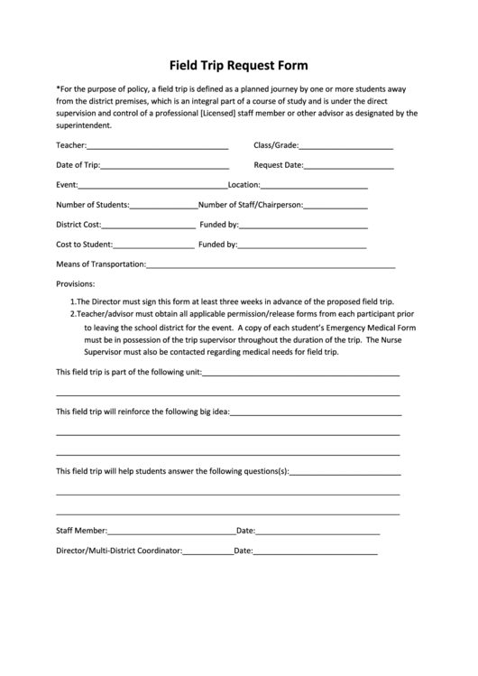 Field Trip Request Form Printable Pdf Download